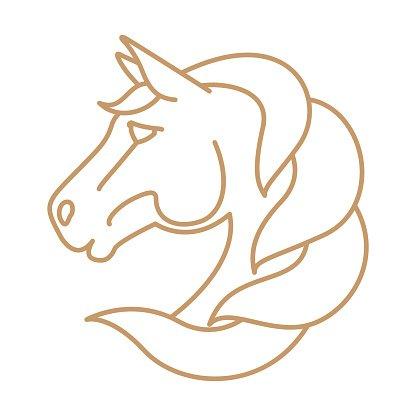 416x416 Horse Head Vector Line Art Stock Vectors