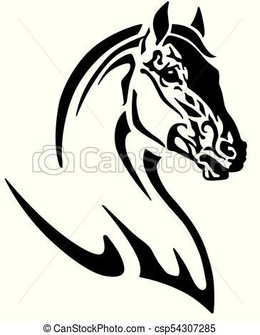 365x470 Horse Head Logo. Horse Head Tribal Tattoo, Logo, Icon . Black And