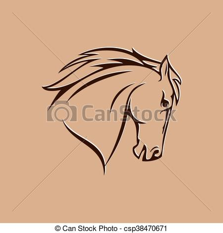450x470 Horse Head. Symbol Of Stylized Horse Head On A Brown Background.