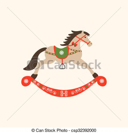 450x470 Rocking Horse Icon On The Yellow Background. Vector Illustration.