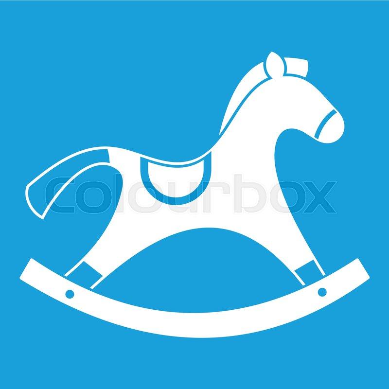 800x800 Rocking Horse Icon White Isolated On Blue Background Vector