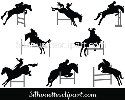 500x400 Horses Jumping A Hurdle Vector Graphics Download Silhouettes Vector