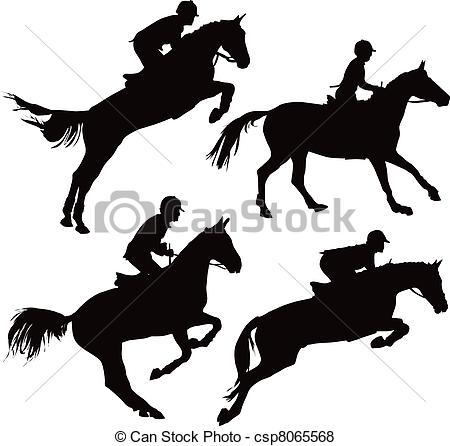 450x446 Jumping Horses With Riders. Jumping Horses With Jockey. Vector