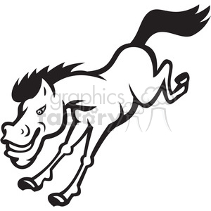 300x300 Royalty Free Black And White Bronco Horse Jumping 388131 Vector