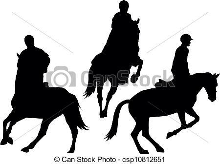 450x336 Horseback Riding. Illustration Set Of Horsback Riding Silhouette.