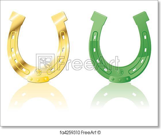 560x470 Free Art Print Of Set Horseshoe. Gold Amp Green Ornate Horseshoe
