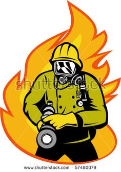 236x337 Fireman Firefighter Aiming Fire Hose Rosette Vector Stock