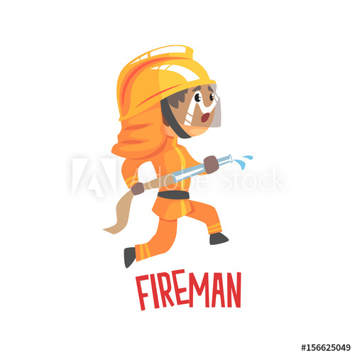500x500 Cute Cartoon Fireman Character Using Water Hose Vector