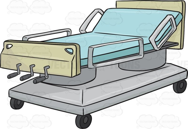800x550 Hospital Bed With The Head Of The Bed On An Incline Vector