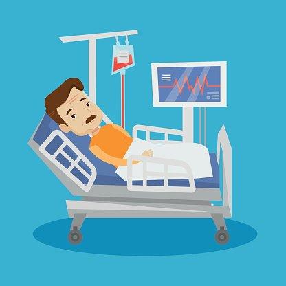 416x416 Man Lying In Hospital Bed Vector Stock Vectors