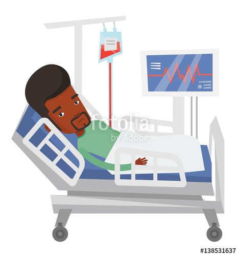 468x500 Man Lying In Hospital Bed Vector Illustration. Stock Image And
