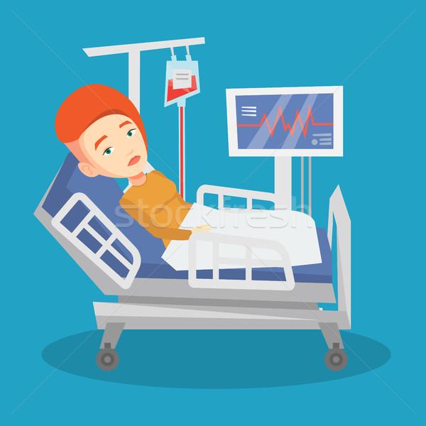 600x600 Man Lying In Hospital Bed Vector Illustration. Vector Illustration