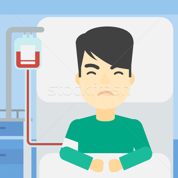 600x600 Patient Lying In Hospital Bed Vector Illustration. Vector