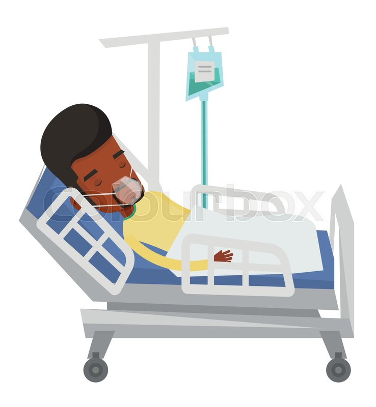 738x800 African Man Lying In Hospital Bed With Oxygen Mask. Mn During