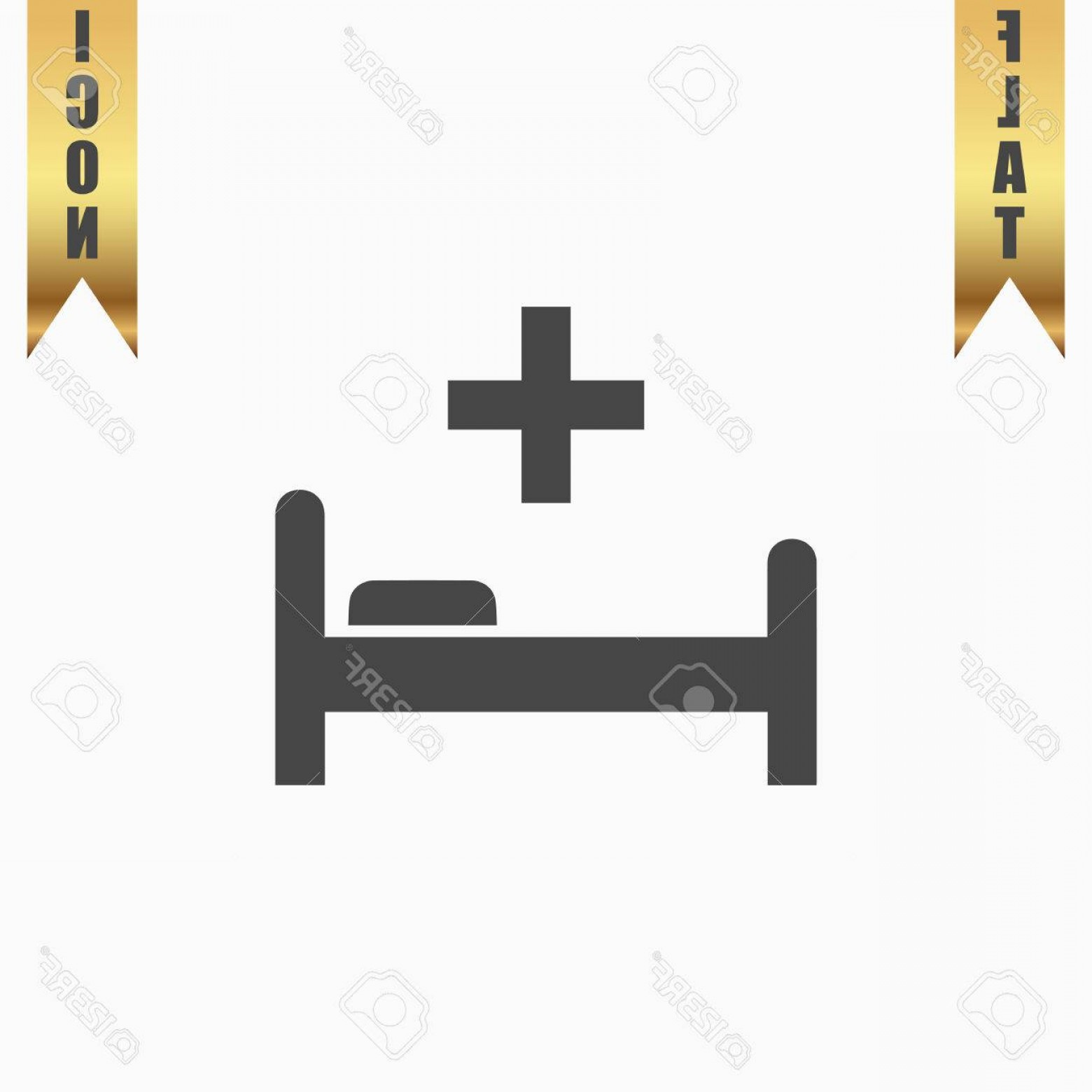 1560x1560 Photostock Vector Hospital Bed And Cross Flat Icon Vector