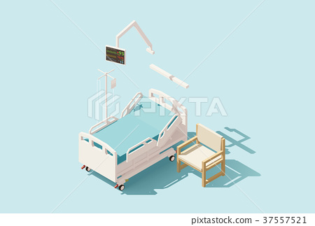 450x323 Vector Isometric Low Poly Hospital Bed