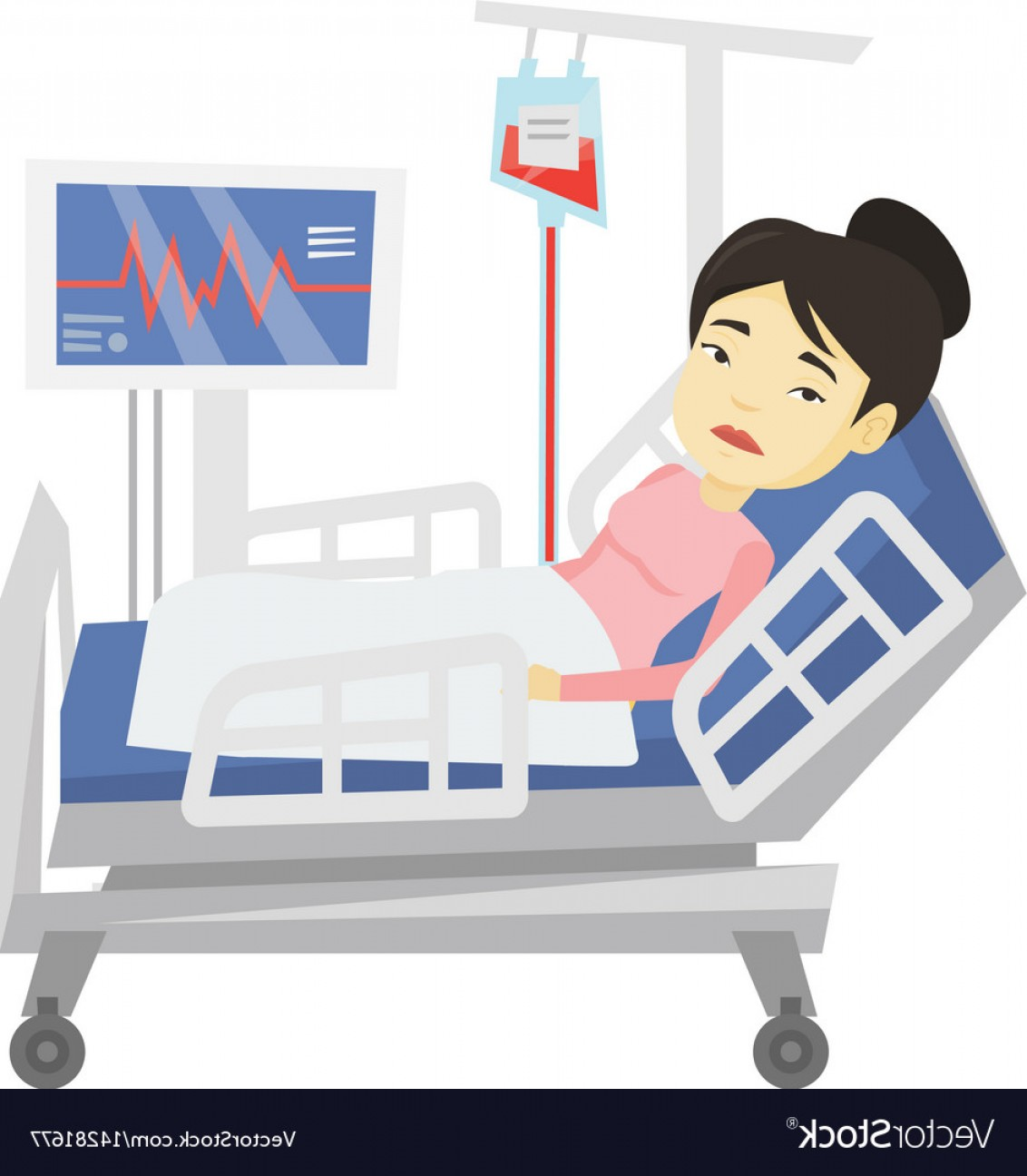 1132x1296 Woman Lying In Hospital Bed Vector Rongholland