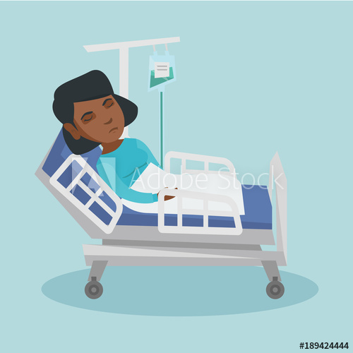 500x500 Young African American Woman Lying In Hospital Bed With A Drop