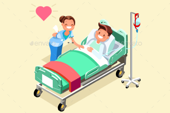 590x392 Hospital Bed Isometric People Vector Illustration By Aurielaki