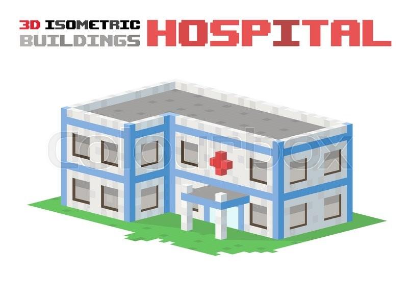 800x584 Hospital Building Vector Illustration. 3d Hospital Building