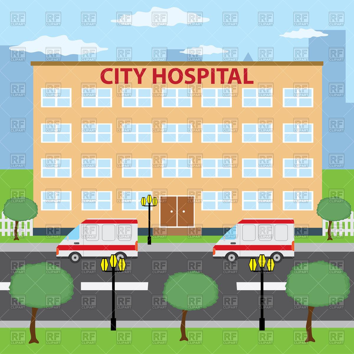 1200x1200 Ambulance Cars Parking Near City Hospital Building Vector Image