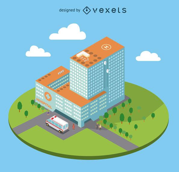 595x570 Flat Isometric Hospital