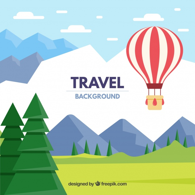 626x626 Hot Air Ballon Travel Background Vector Free Download