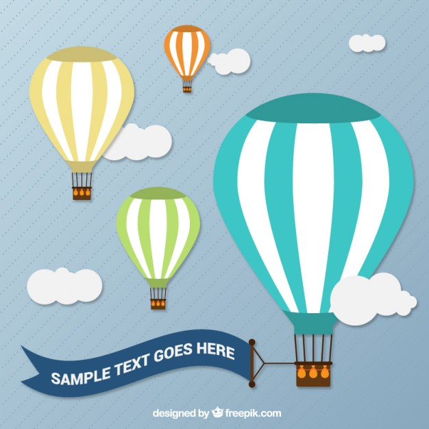 626x626 Hot Air Balloons With A Banner Vector Free Download