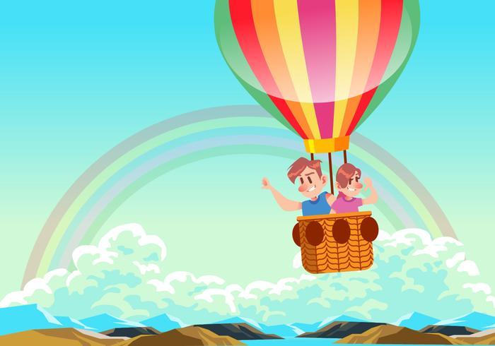 700x490 Kids Riding A Hot Air Balloon Vector Stock Images