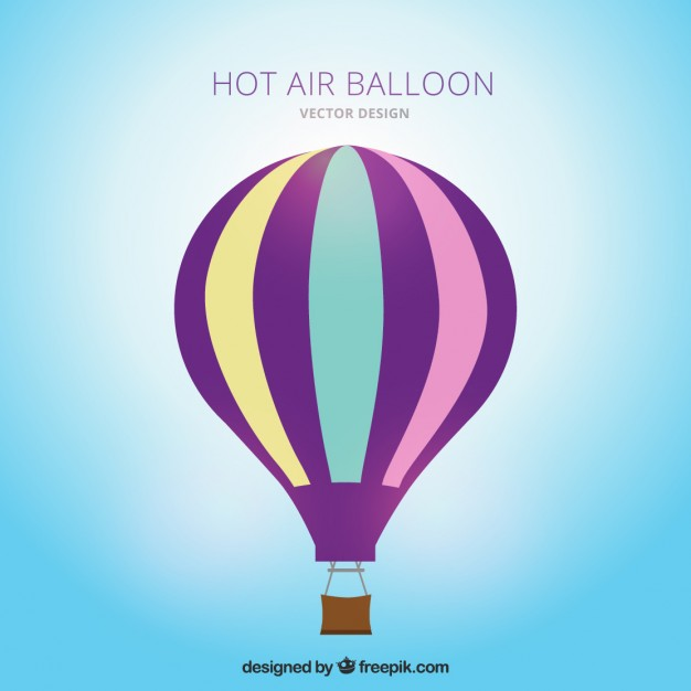 626x626 Striped Hot Air Balloon Vector Free Download
