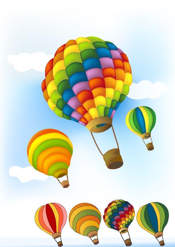 605x856 Cute Hot Air Balloon Vector Graphics Download Vector Material