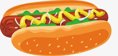 502x239 Vector Painted Fast Food Hot Dog, Food Clipart, Dog Clipart