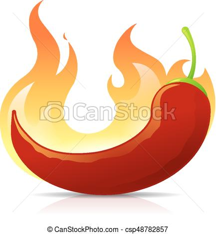 433x470 Hot Chili. Red Chili Pepper Burning In Flames Vector Illustration