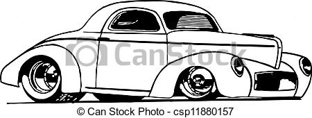 450x170 Hot Rod Coupe. Line Drawing Of Hot Rod.