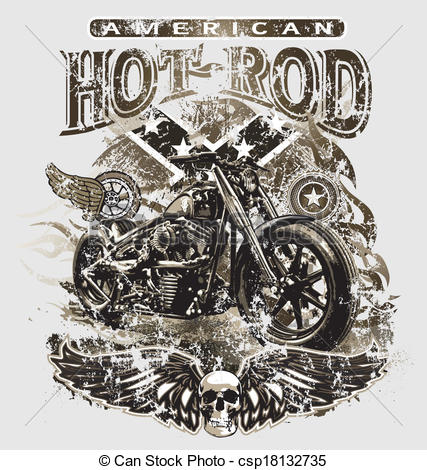 427x470 American Hot Rod Motorcycle. Hot Rod Motorcycle Vector For T Shirt