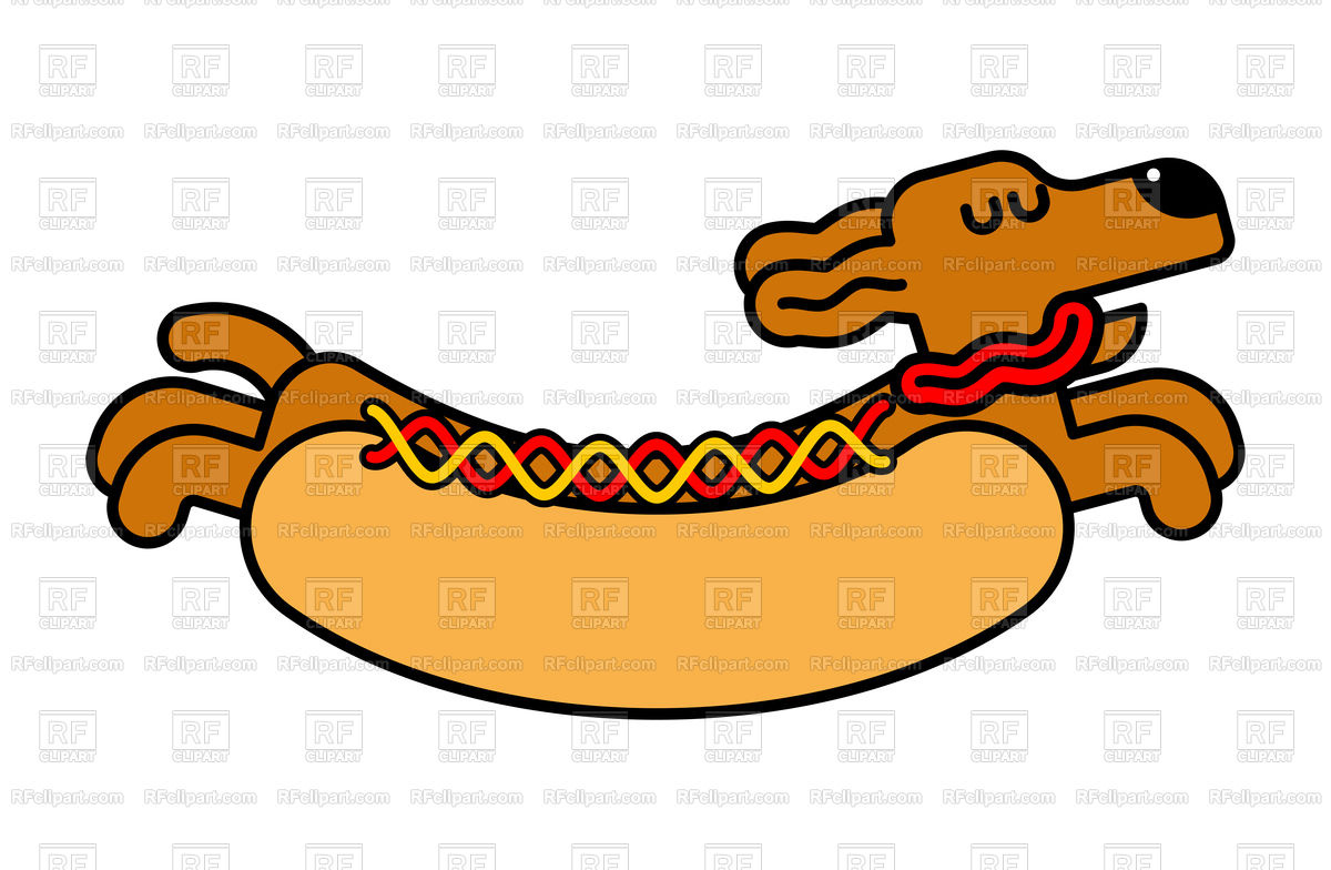 1200x784 Hot Dog With Dachshund Concept Vector Image Vector Artwork Of
