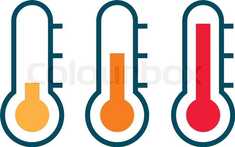 800x500 Three Vector Thermometer Showing The Temperature From Warm To Very