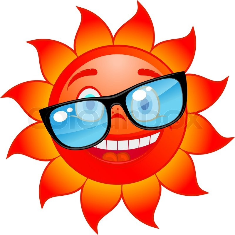 800x800 Happy Red And Hot Sun In Sunglasses. Cartoon Style Stock Vector