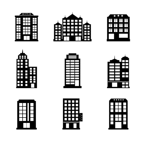 500x500 16 Models Of Color Hotel Icon Vector Material Download Free Vector