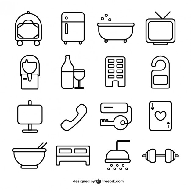 626x626 Hotel Room Line Icons Vector Free Download