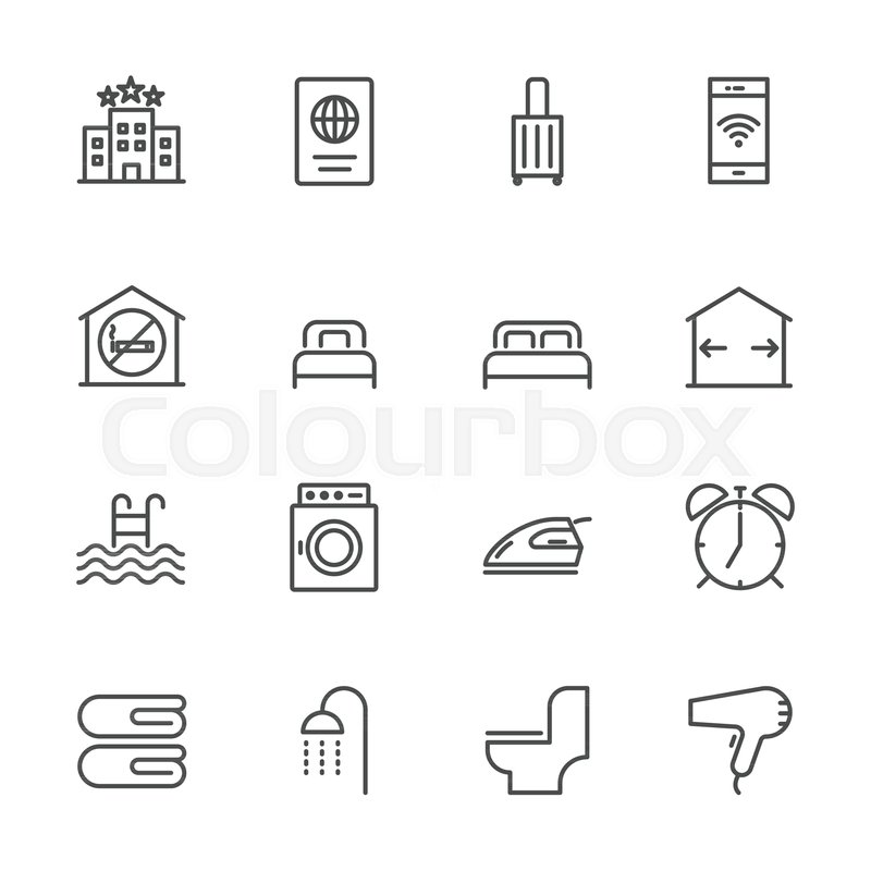 800x800 Hotel Service, Simple Thin Line Hotel Icons Set, Vector Icon