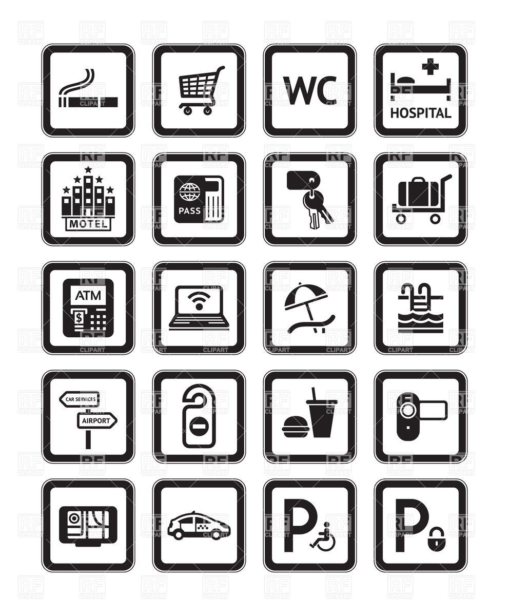 992x1200 Hotel Service Icons Vector Image Vector Artwork Of Signs