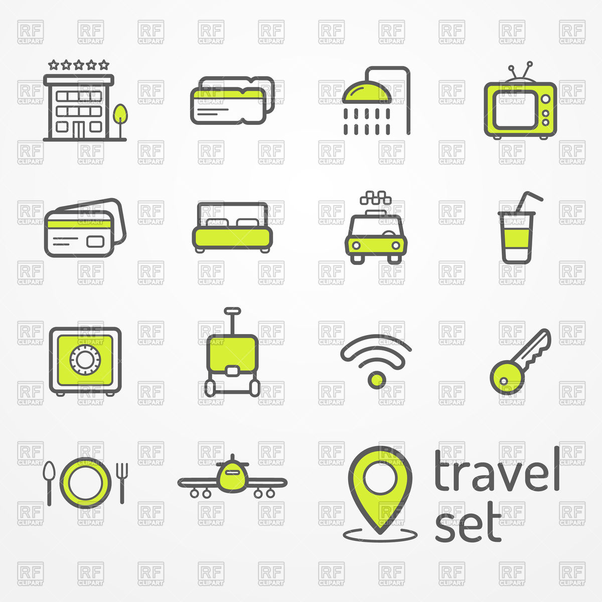1200x1200 Set Of Travel And Hotel Icons Vector Image Vector Artwork Of
