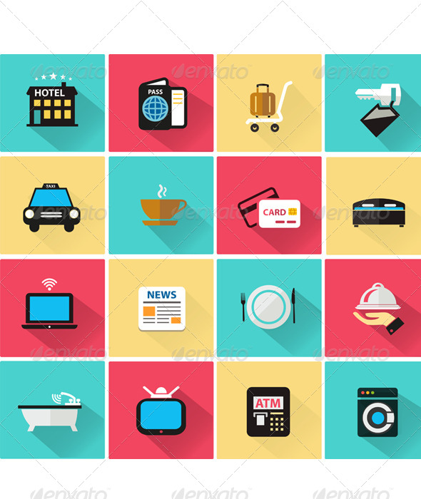 590x700 Vector Collection Of Hotel Icon In Flat Style By Athikan