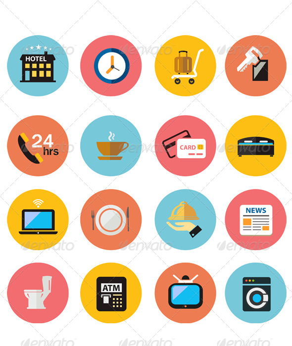 590x700 Flat Icons Vector Hotel Icons Set By Athikan Graphicriver