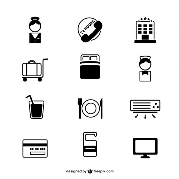 626x626 Hotel Simple Icons Set Vector Free Download