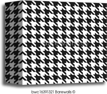 443x390 Canvas Print Of Seamless Black And White Houndstooth Vector