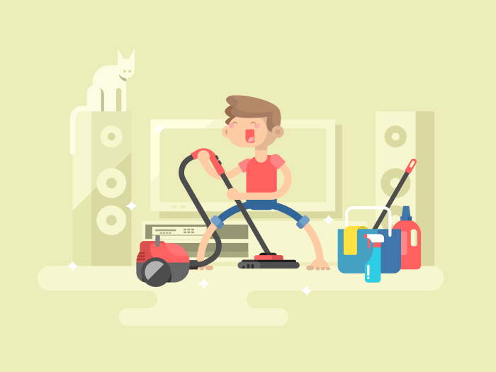 700x525 Boy Cleaning House Illustration