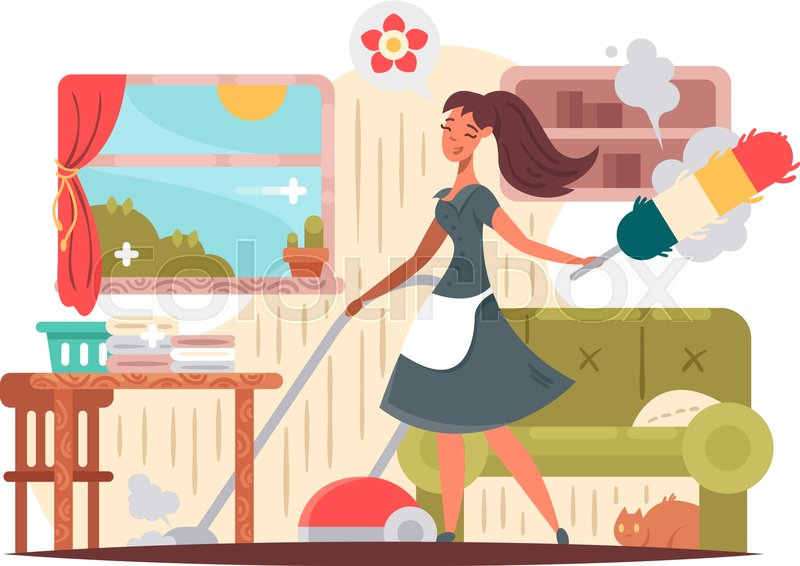 800x566 Girl Housekeeper Cleans Apartment. House Cleaning Vector