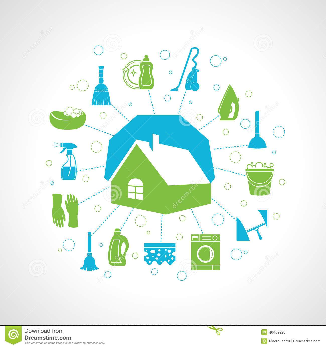1300x1390 House Cleaning Concept Stock Vector Image 40459920, Washing
